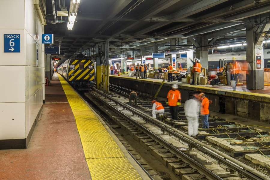 Amtrak Engineering crews replace concrete foundation of track at New York Penn Station